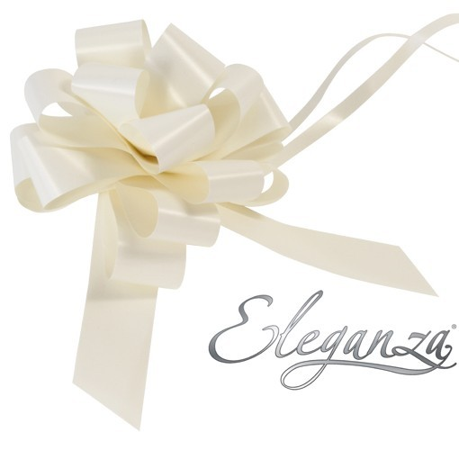 Eleganza 30mm Ivory Poly Pull Bow