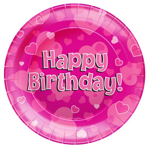Happy Birthday Pink Party Plates