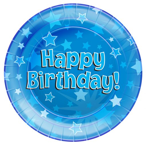 Happy Birthday Blue Party Plates