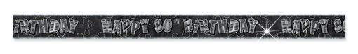 Black/Silver 80th Birthday Prism Banner