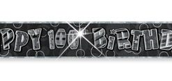 Black/Silver 100th Birthday Prism Banner