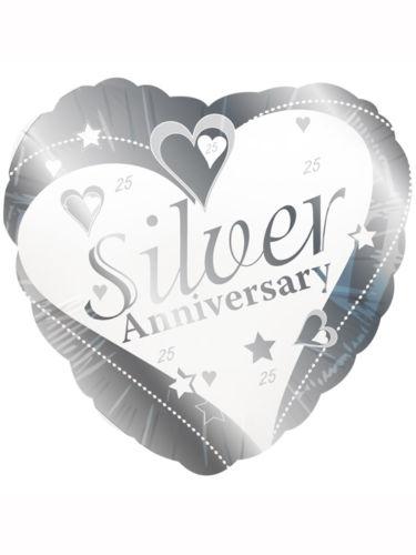 "18"" Silver Anniversary Heart Foil"