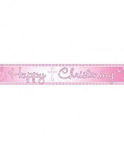 Christening Pink Booties Banner