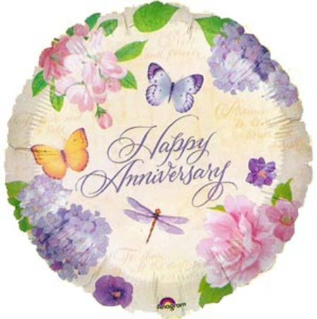 """18"""" Happy Anniversary Butterfly Flowers Foil"""