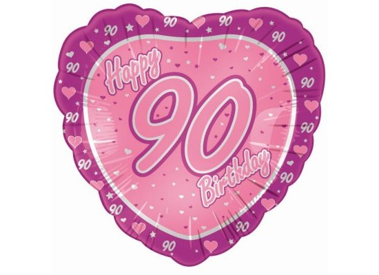 """18"""" Pink Happy 90th Birthday Heart Foil"""