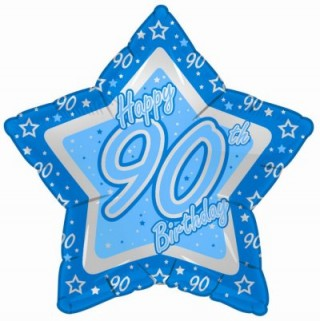 19″ Blue Happy 90th Birthday Foil