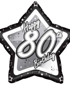 19″ Black & Silver Happy 80th Birthday Foil
