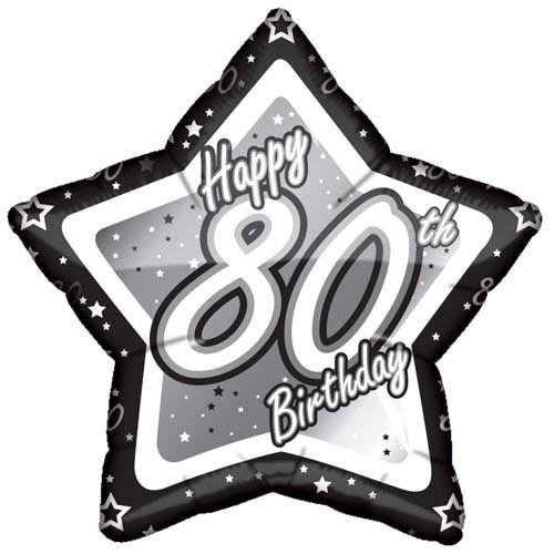 19″ Black & Silver Happy 80th Birthday Foil