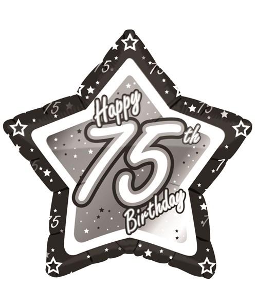 18″ Black & Silver Happy 75th Birthday Foil