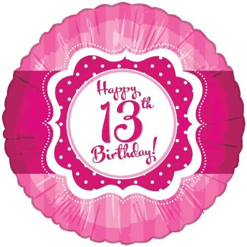 "17/18"" Perfectly Pink Happy 13th Birthday Foil"