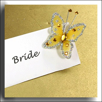 Gold with Silver Glitter Butterfly
