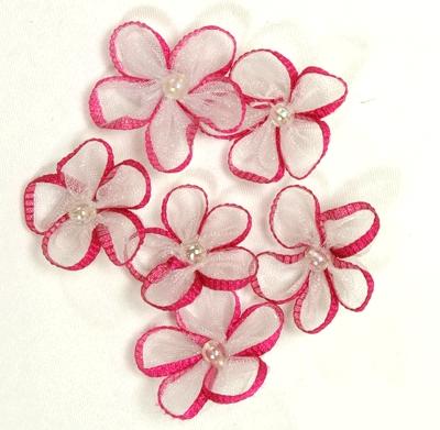 Ribbon Edged Sheer Flowers - Fuchsia