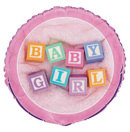 "18"" Baby Girl Blocks Foil"
