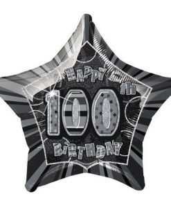 "20"" Black/Silver Star Happy 100th Birthday Prism Foil"
