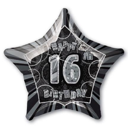 "20"" Black/Silver Star Happy 16th Birthday Prism Foil"