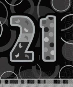 "Black/Silver 'Age 21"" Luncheon Napkins"
