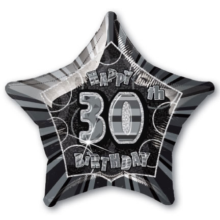 "20"" Black/Silver Star Happy 30th Birthday Prism Foil"