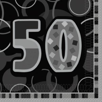 "Black/Silver 'Age 50"" Luncheon Napkins"