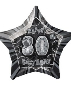 "20"" Black/Silver Star Happy 80th Birthday Prism Foil"