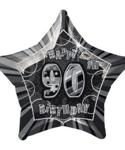 "20"" Black/Silver Star Happy 90th Birthday Prism Foil"