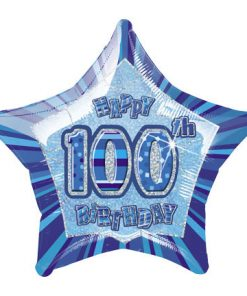 "20"" Blue Star Happy 100th Birthday Prism Foil"