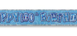 Blue Happy 100th Birthday Prism Banner