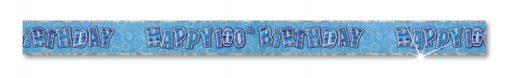 Blue Happy 100th Birthday Prism Banner