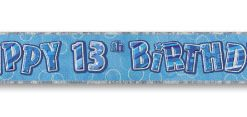 Blue Happy 13th Birthday Prism Banner