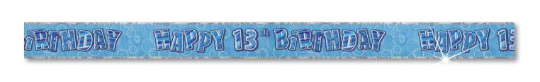 Blue Happy 13th Birthday Prism Banner