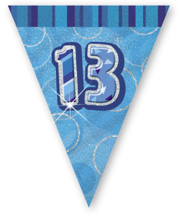 """Blue Age """"13"""" Prism Pennant Banner"""