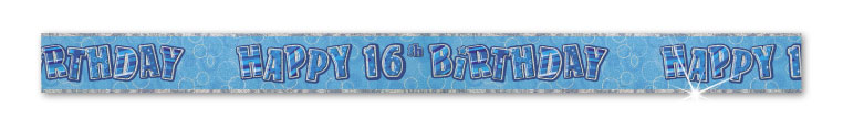 Blue Happy 16th Birthday Prism Banner