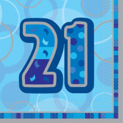 Blue Glitz Age '21' Luncheon Napkins