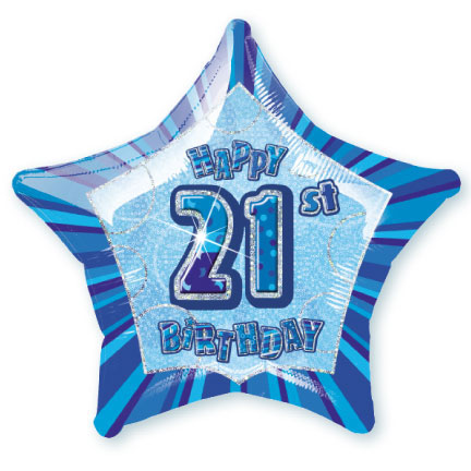 "20"" Blue Star Happy 21st Birthday Prism Foil"
