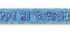 Blue Happy 21st Birthday Prism Banner