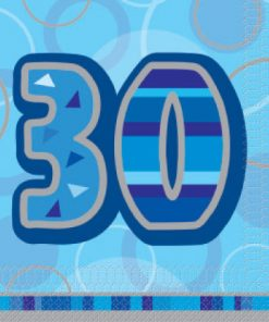 Luncheon Napkins Blue Glitz Age '30'