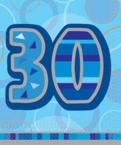 Luncheon Napkins Blue Glitz Age '30'