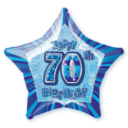 "20"" Blue Star Happy 70th Birthday Prism Foil"