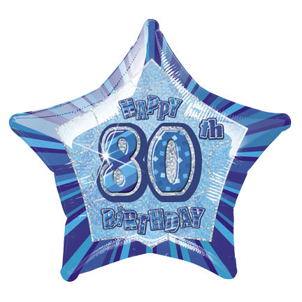 "20"" Blue Star Happy 80th Birthday Prism Foil"
