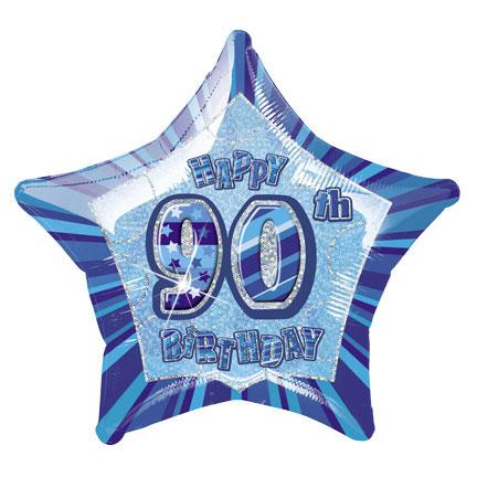 "20"" Blue Star Happy 90th Birthday Prism Foil"