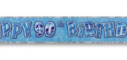 Blue Happy 90th Birthday Prism Banner
