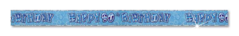 Blue Happy 90th Birthday Prism Banner