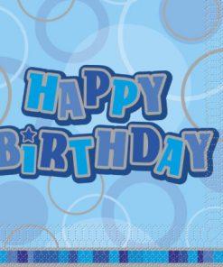 Luncheon Napkins Blue Glitz Happy Birthday