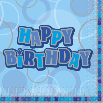 Luncheon Napkins Blue Glitz Happy Birthday