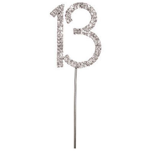 Diamanté Number 13 on Silver Stem