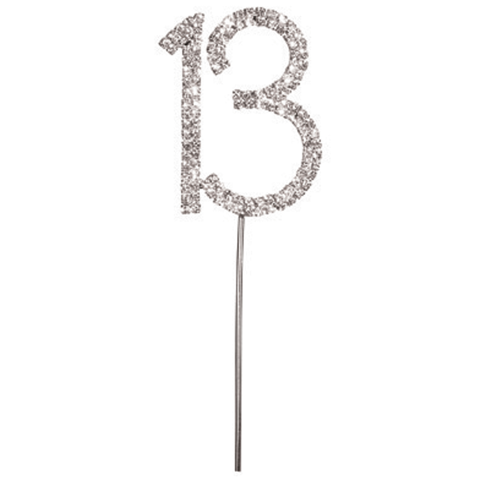 Diamanté Number 13 on Silver Stem