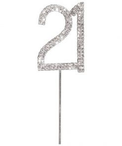 Diamanté Number 21 on Silver Stem