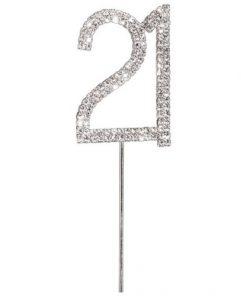 Diamanté Number 21 on Silver Stem