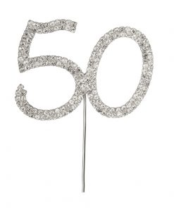 Diamanté Number 50 on Silver Stem