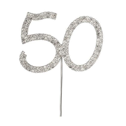 Diamanté Number 50 on Silver Stem