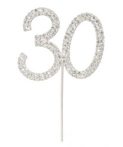 Diamanté Number 30 on Silver Stem
